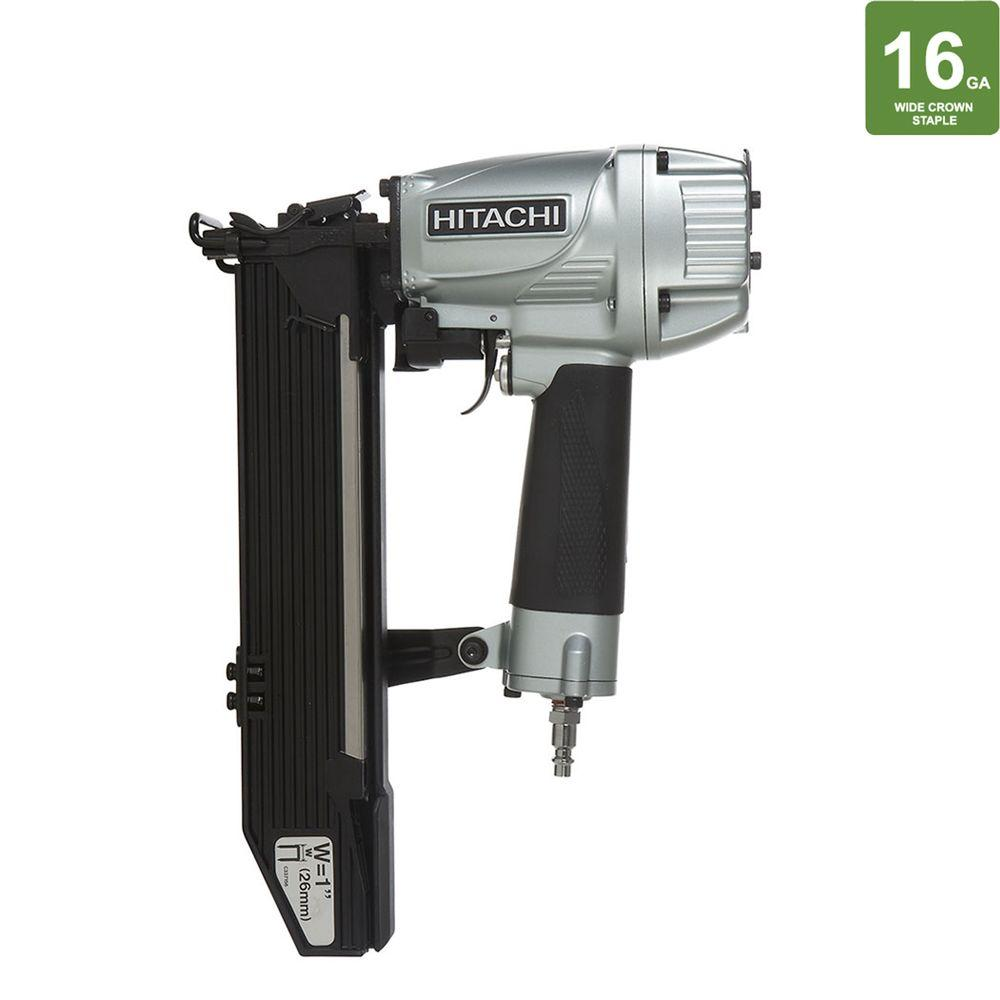 Hitachi 1 in. x 16-Gauge Wide Crown Stapler with Top Load Magazine and Safety Glasses