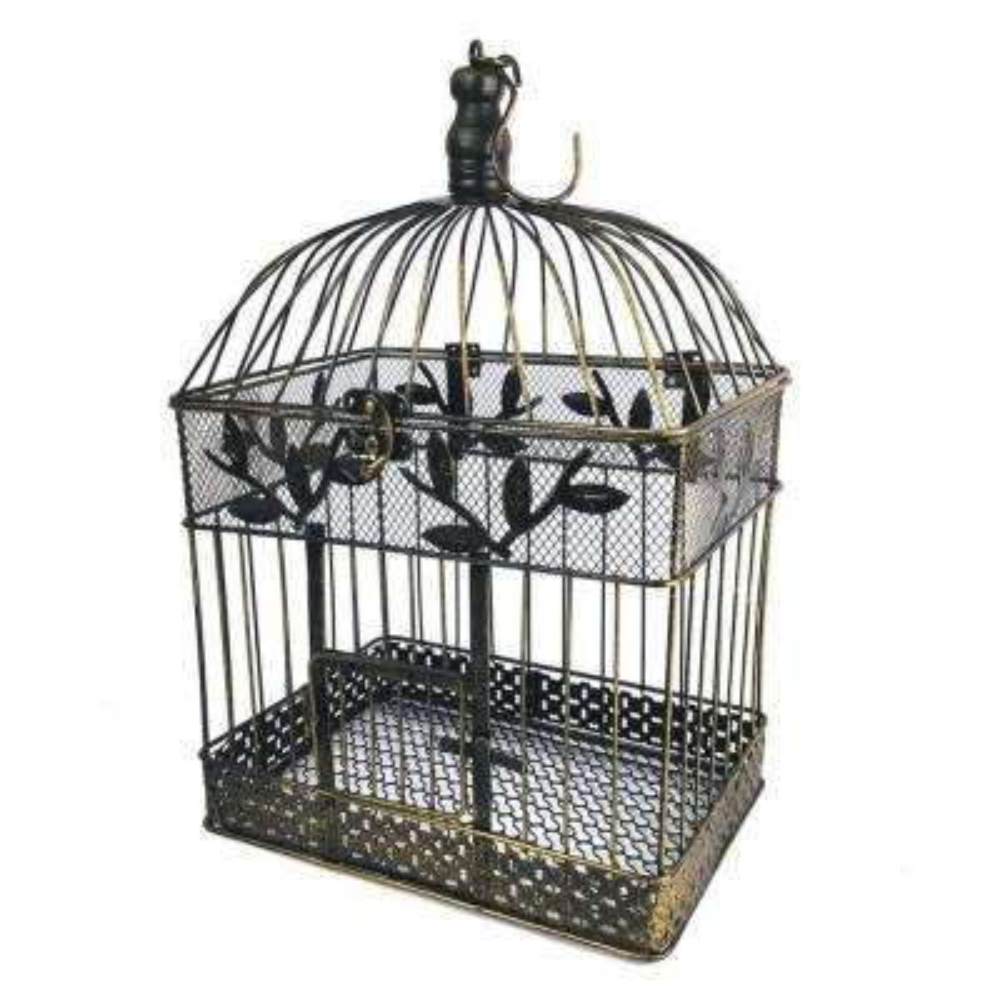 17 in. Large Bronze Steel Decorative Bird Cage