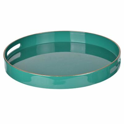 Green Round Tray with Cutout Handles