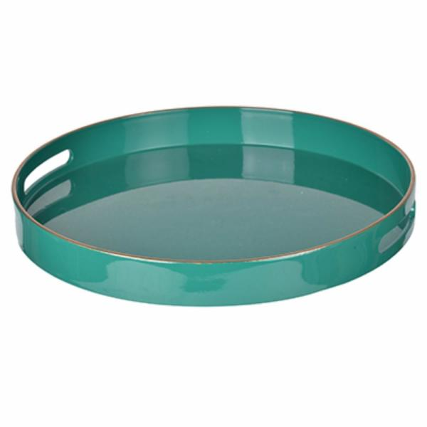 Benzara Green Round Tray with Cutout Handles
