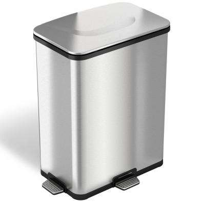 13 Gal. Fingerprint-Proof Stainless Steel Step-Sensor Trash Can