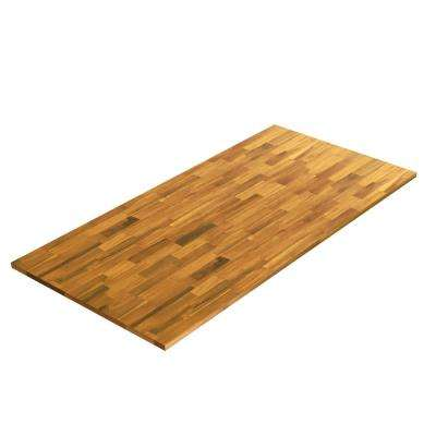 6 ft. 2 in. L x 3 ft. 4 in. D x 1 in. T Island Butcher Block Countertop in Golden Teak Stained Acacia