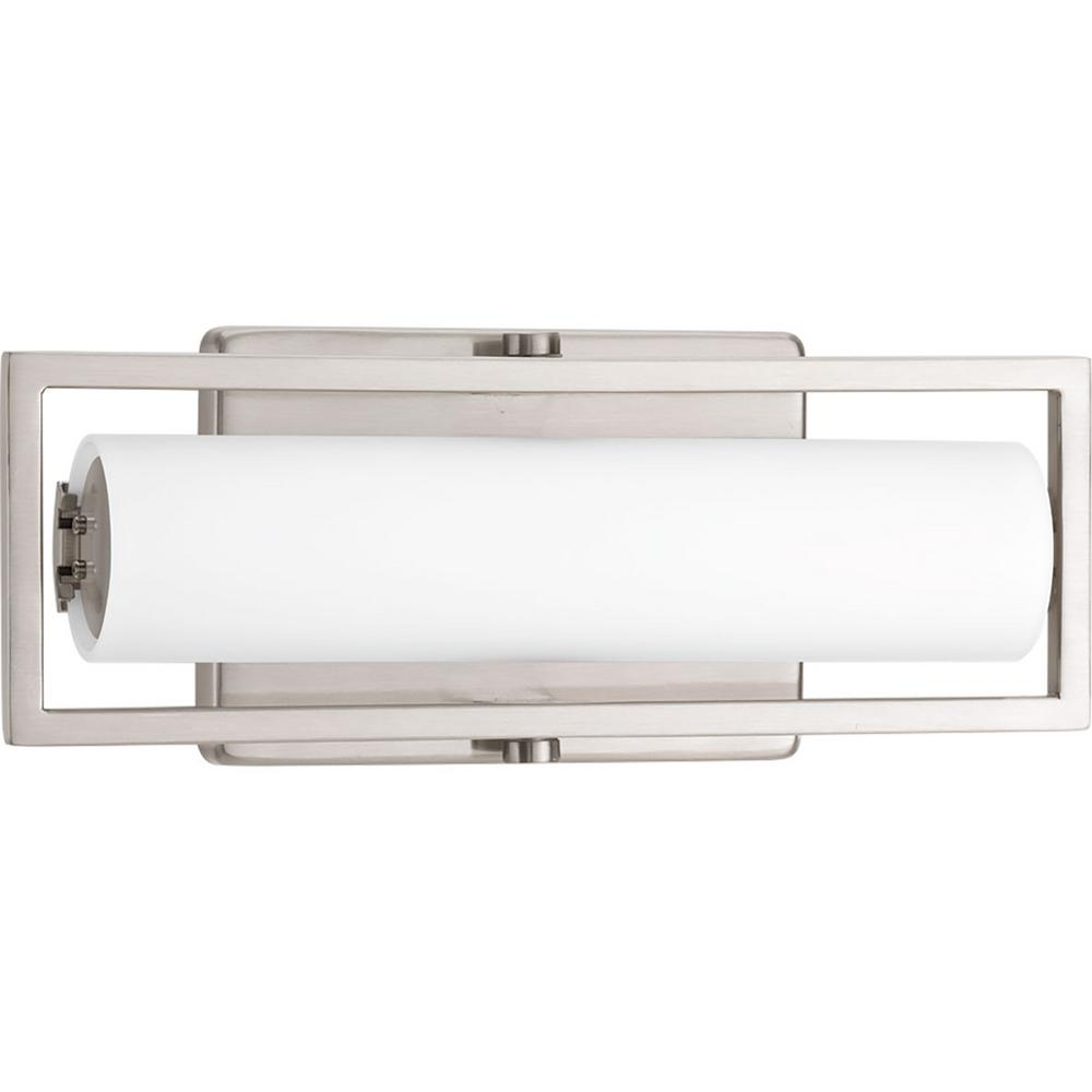 Frame Collection 15-Watt Brushed Nickel Integrated LED Vanity Light with Etched