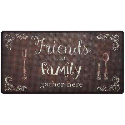 Cook N Comfort Brown Friends Family 20 in. x 39 in. Kitchen Mat