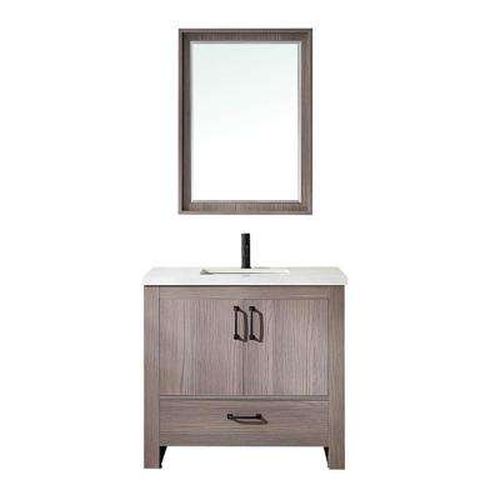 Forli 36 in. W x 22 in. D Bath Vanity in Dark Grey with Quartz Vanity Top in White with White Basin and Mirror