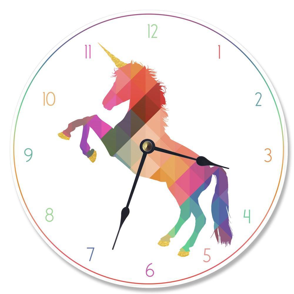 """Geometric Rainbow Unicorn"" by Daphne Polselli Wall Clock"