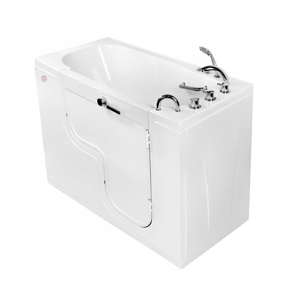 Wheelchair Transfer 60 in. Acrylic Walk-In Air Bath and MicroBubble Bathtub in White, Faucet, Heated Seat, RH Dual Drain