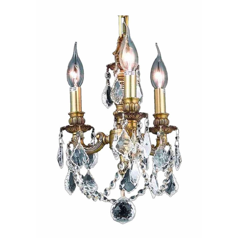 Elegant Lighting 3-Light French Gold Chandelier with Clear Crystal