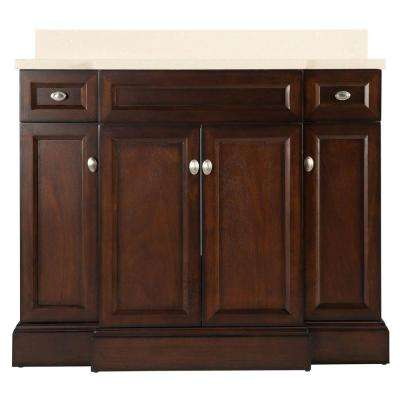 Teagen 42 in. W Bath Vanity in Dark Espresso with Engineered Stone Vanity Top in Beige