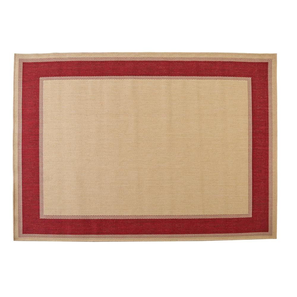 Hampton Bay Border Tan Red 7 Ft 5 In X 10 Ft 8 In
