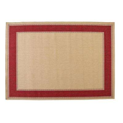 Border Tan Red 7 ft. 5 in. x 10 ft. 8 in. Indoor/Outdoor Area Rug