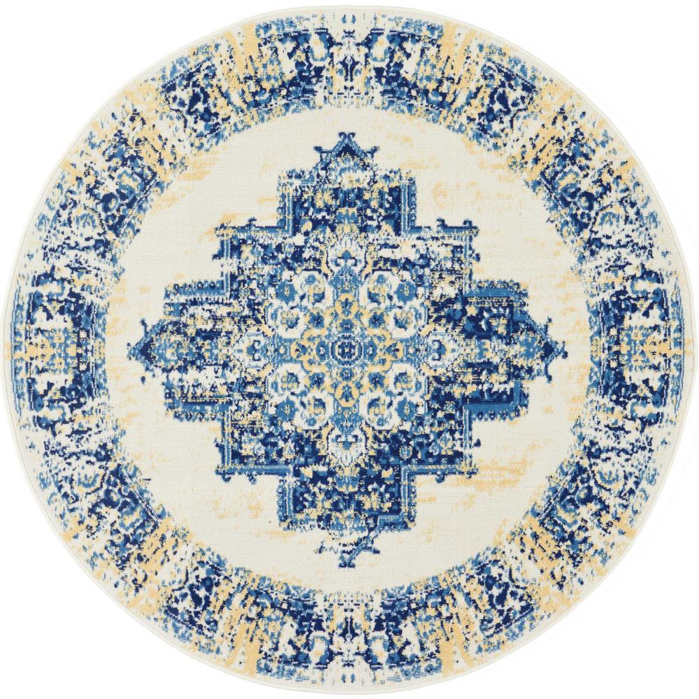 Blue And White Circle Rug: Nourison Grafix 5'x Round White And Blue Persian Area Rug