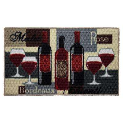 Wine Time 18 in. x 30 in. Textured Oblong Accent Kitchen Rug