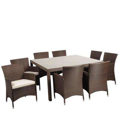 Grand New Liberty 9-Piece Wicker Outdoor Dining Set with Brown Cushions