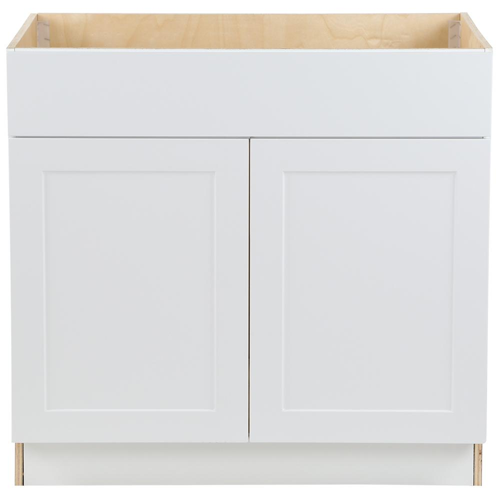 separation shoes c9240 f8b0c Hampton Bay Cambridge Assembled 36x34.5x24.5 in. Sink Base Cabinet with  False Drawer Front in White