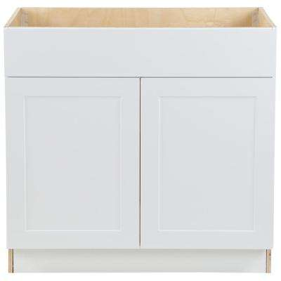 Cambridge Shaker Assembled 36x34.5x24.5 in. Sink Base Cabinet w/ False Drawer Front & 2 Soft Close Doors in White
