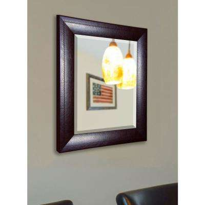 29.75 in. x 35.75 in. Espresso Leather Rounded Beveled Wall Mirror
