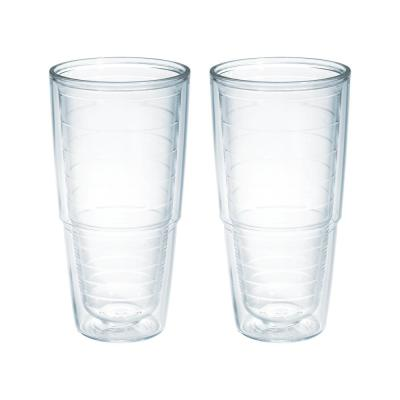 Clear 24 fl. oz. 2-Pack Plastic Double Walled Insulated Tumbler No Lid