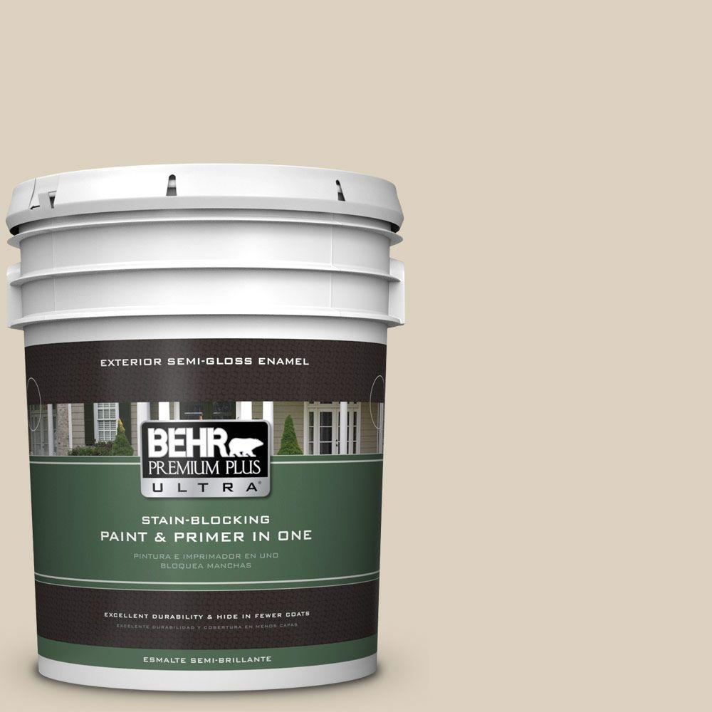 BEHR Premium Plus Ultra 5-gal. #OR-W7 Spanish Sand Semi-Gloss Enamel Exterior Paint