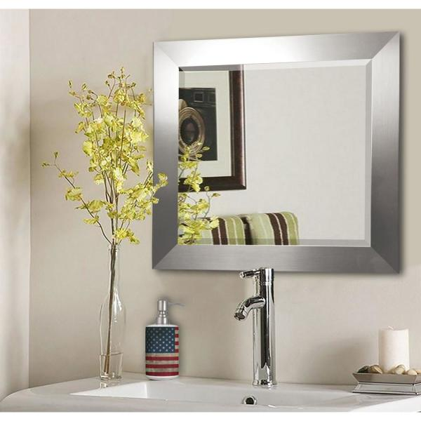 23.5 in. x 35.5 in. Silver Wide Rounded Beveled Wall Mirror