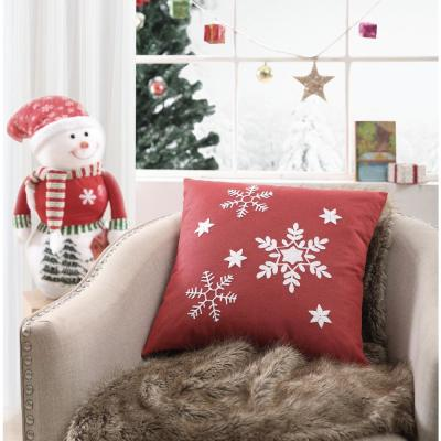 MHF Home Red Snowflake 18 in. Throw Pillow Cover