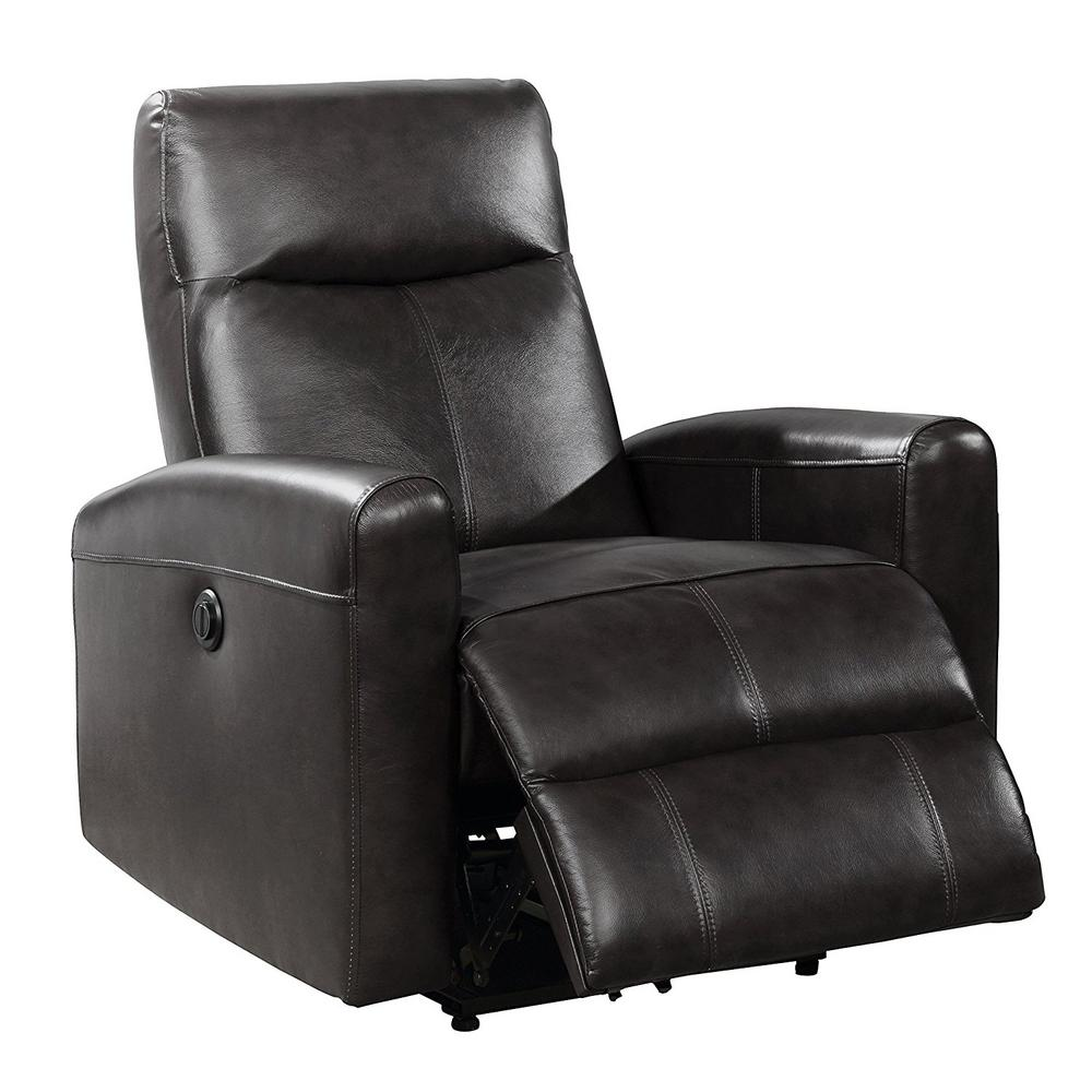 Ac Pacific Eli Collection Black Contemporary Leather Upholstered