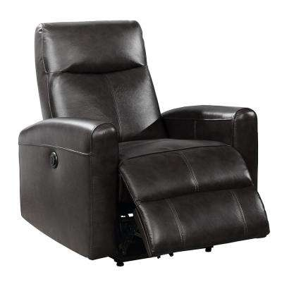 Eli Collection Black Contemporary Leather Upholstered Living Room Electric Recliner Power Chair