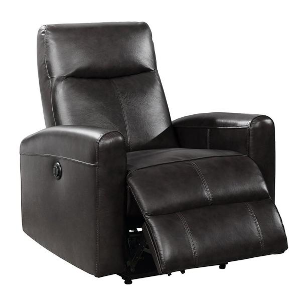 AC Pacific Eli Collection Black Contemporary Leather Upholstered ...