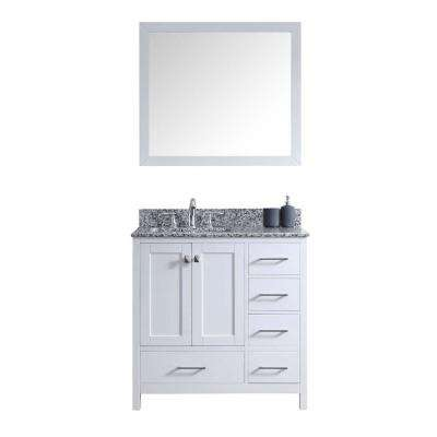 Caroline Madison 36 in. W Bath Vanity in White with Granite Vanity Top in Arctic White with Square Basin and Mirror