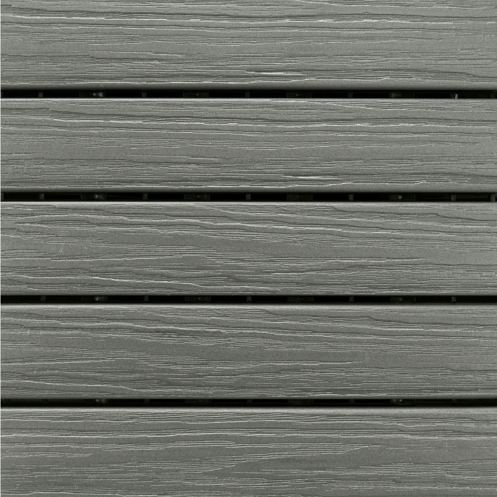 Elite 1 ft. x 1 ft. Premium Polymer Deck Tile In Driftwood Grey (10-Tile/Case)