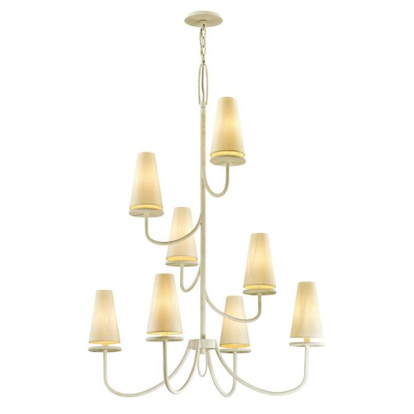 Marcel 8-Light Gesso White 36 in. D Chandelier with Off-White Hardback Cotton Shade