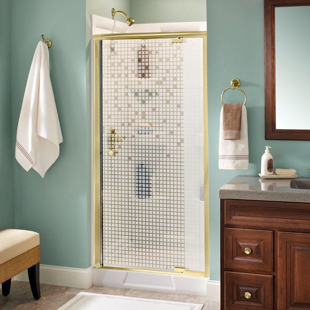 Lyndall 36 in. x 66 in. Semi-Frameless Pivot Shower Door in