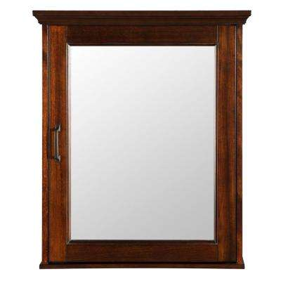 Ashburn 23 in. W x 28 in. H x 7-3/4 in. D Framed Surface-Mount Bathroom Medicine Cabinet in Mahogany