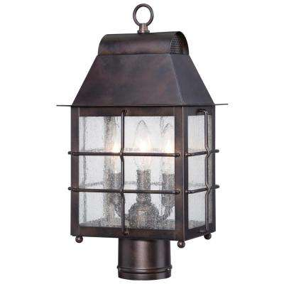 Willow Pointe 3-Light Outdoor Chelesa Bronze Post Light