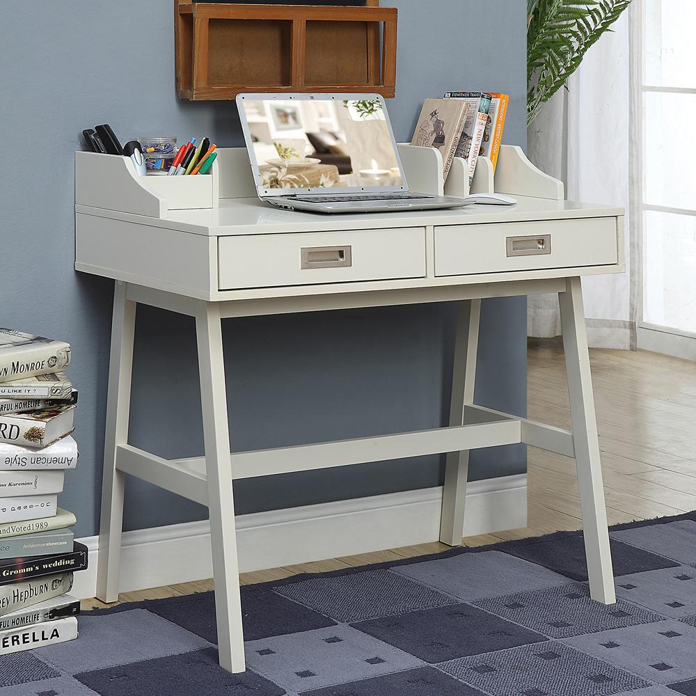 Polar White 2 Drawer Writing Desk