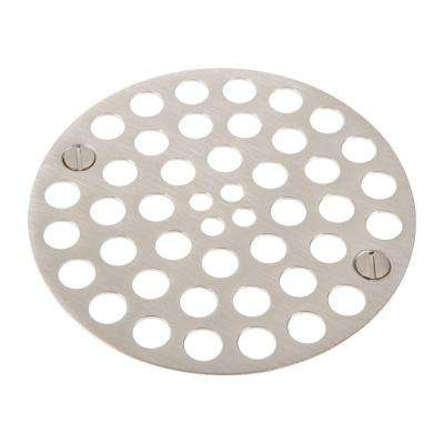 4 in. Dia Strainer 3-3/8 in. C-C Screw Holes in Satin Nickel