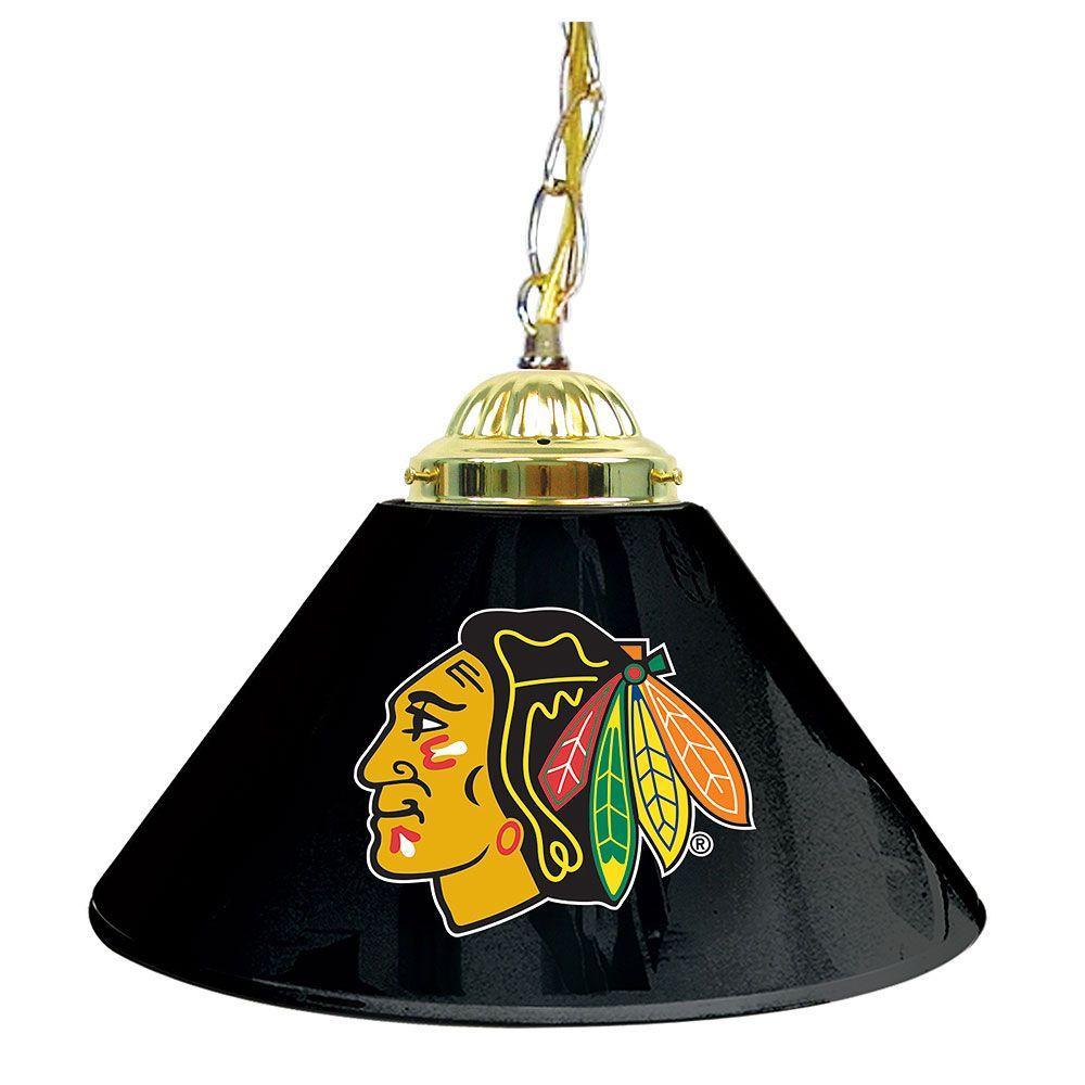 null NHL Chicago Blackhawks 14 in. Single Shade Black Hanging Lamp