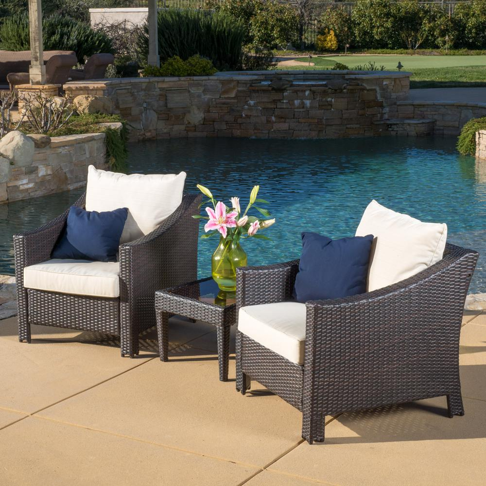 Antibes Multi Brown 3 Piece Wicker Patio Conversation Set With Beige Cushions