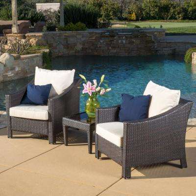 Antibes Multi-Brown 3-Piece Wicker Patio Conversation Set with Beige Cushions