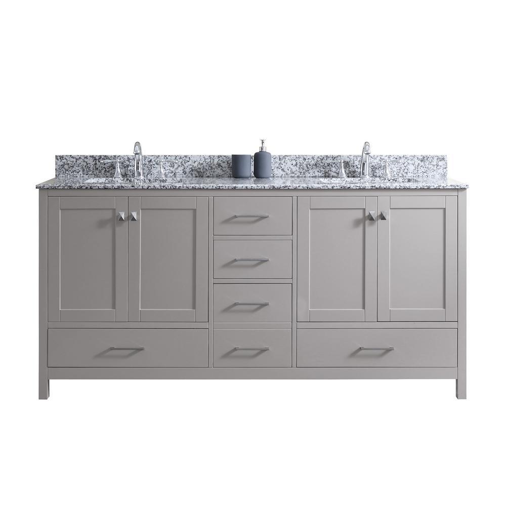 Virtu USA Caroline Madison 72 in. W Bath Vanity in C. Gray with Granite Vanity Top in Arctic White Granite with Square Basin