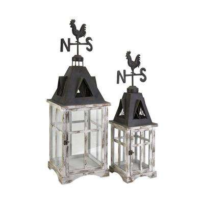 Weather Vane Wood Lanterns (Set of 2)
