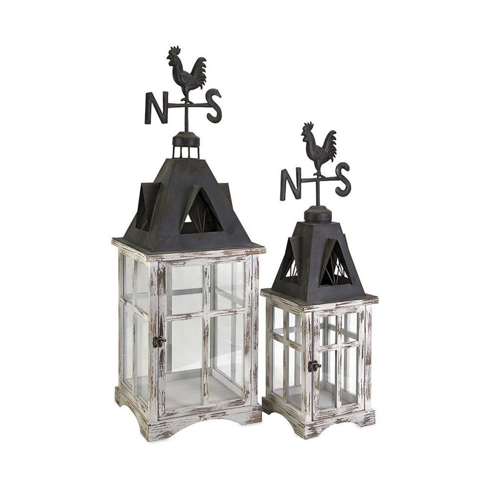 Weather Vane Wood Lanterns (Set of 2)