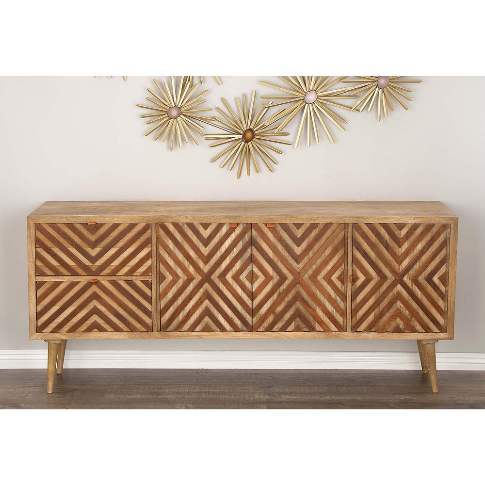 Litton Lane Chevron Patterned Wooden Brown Cabinet