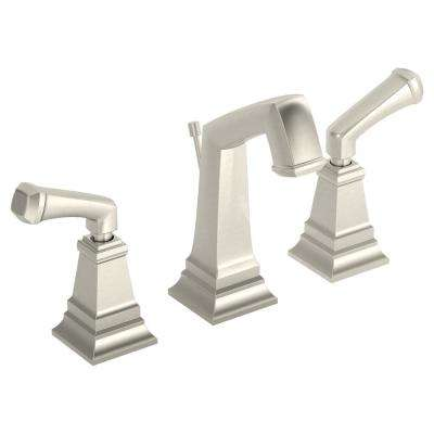 Oxford 8 in. Widespread 2-Handle Bathroom Faucet with Drain Assembly in Satin Nickel (1.5 GPM)