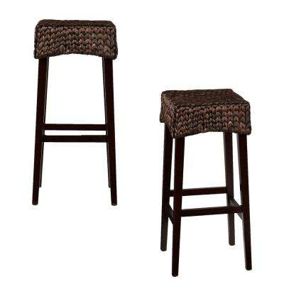 Hester 30 in. Brown Bar Stool (Set of 2)