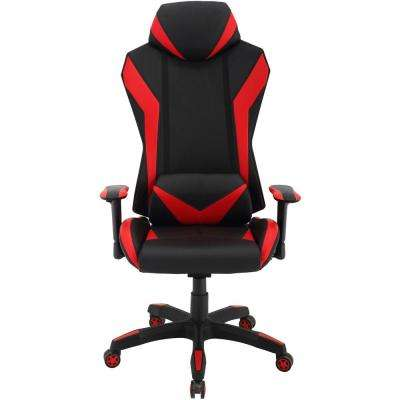 Commando Ergonomic Black and Red High-Back Gaming Chair with Adjustable Gas Lift Seating and Lumbar Support