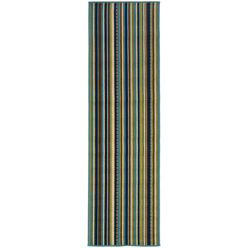 Aruba Stripe Blue-Brown 2 ft. 3 in. x 7