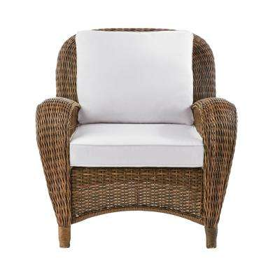 Beacon Park Stationary Wicker Outdoor Lounge Chair with Cushions Included, Choose Your Own Color