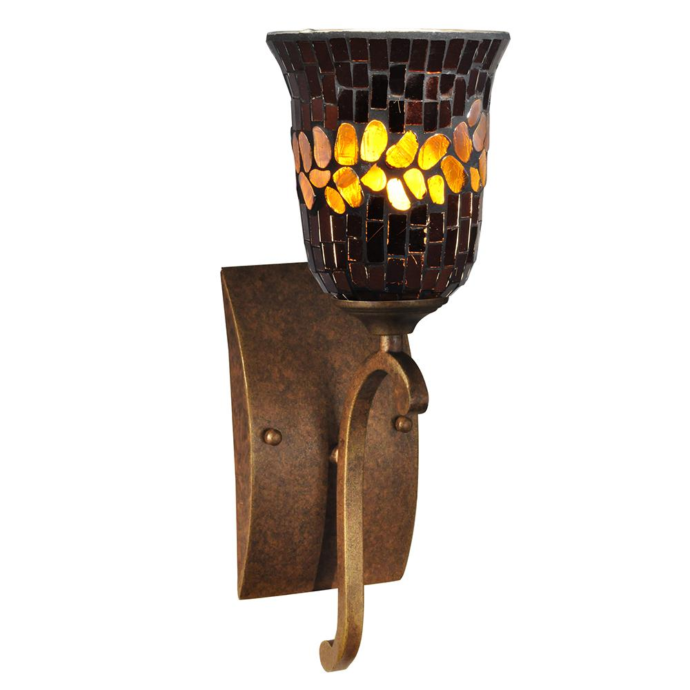 Boudreaux 1 light matte black and antique gold wall sconce tn candora 1 light antique golden bronze and mosaic art glass wall sconce amipublicfo Image collections