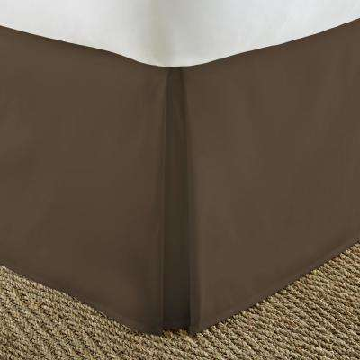 Pleated Dust Ruffle Chocolate Queen Performance Bed Skirt